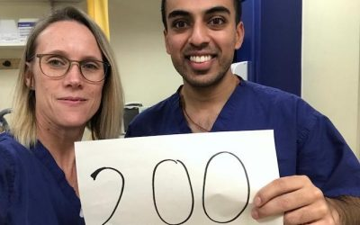 Reinette and Ashish celebrate recruiting 200 patients in the Evarest trial